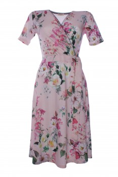 Wrap Dress made of Viscose Jersey, Rose with Blossoms