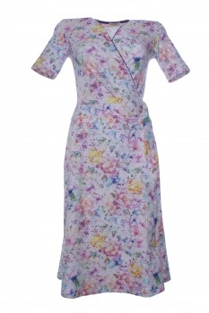 Wrap Dress made of Cotton Jersey, White with Blossoms in Rainbow Colors