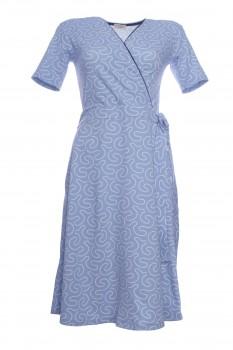 Wickelkleid aus Viskose-Jersey, Taubenblau mit weißen Perlen