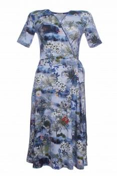Wickelkleid aus OEKO-TEX® 100 Viskose-Jersey, Seeblumen