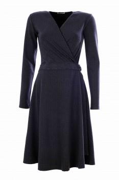 Wrap Dress, Herring Bone Lines, Gray-Black
