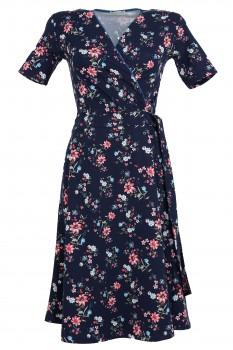 Wrap Dress, Dark Blue with Blossom Print, Organic Cotton
