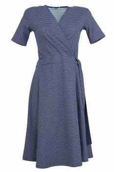 Wrap Dress, Blue with white Dots, Organic Cotton