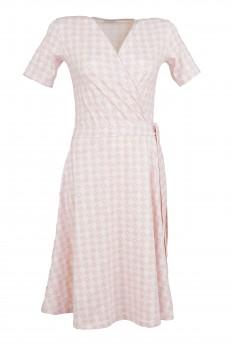 Wrap Dress, Rose Retro Pattern on Off-White, Organic Cotton