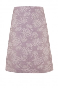 A-Line Skirt, Organic Half-Linen, Mauve with Scattered Flowers