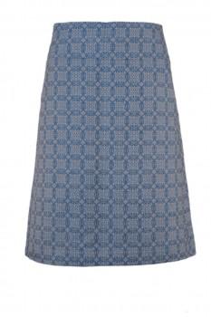 A-Line Skirt, Organic Half-Linen, Blue with Arabesque Pattern