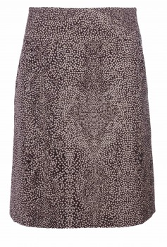 A-Line Skirt, Brown with light dots, Wool