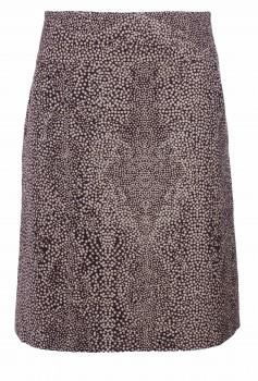 A-Linienrock, Braun mit hellen Dots, Wolle
