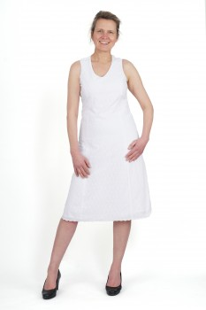 Shift Dress, White Cotton with Romantic Eyelet Embroidery