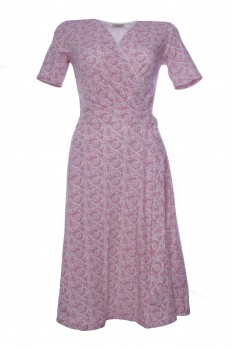 Wrap Dress made of Cotton Jersey, Old Rose with Off White Lace