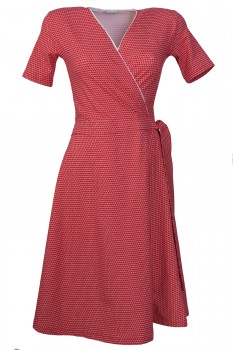 Wrap Dress, Cherry with dots, Organic Cotton