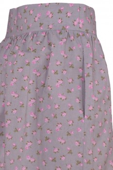 Wide Skirt, gray with little pink Roses