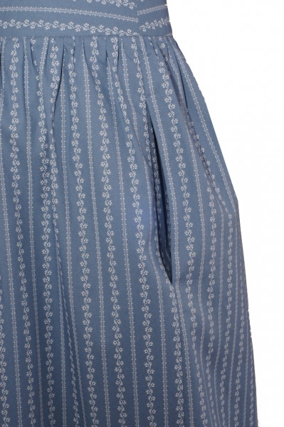 Wide Skirt, Traditional Trachten Pattern, Blue with White Tendril